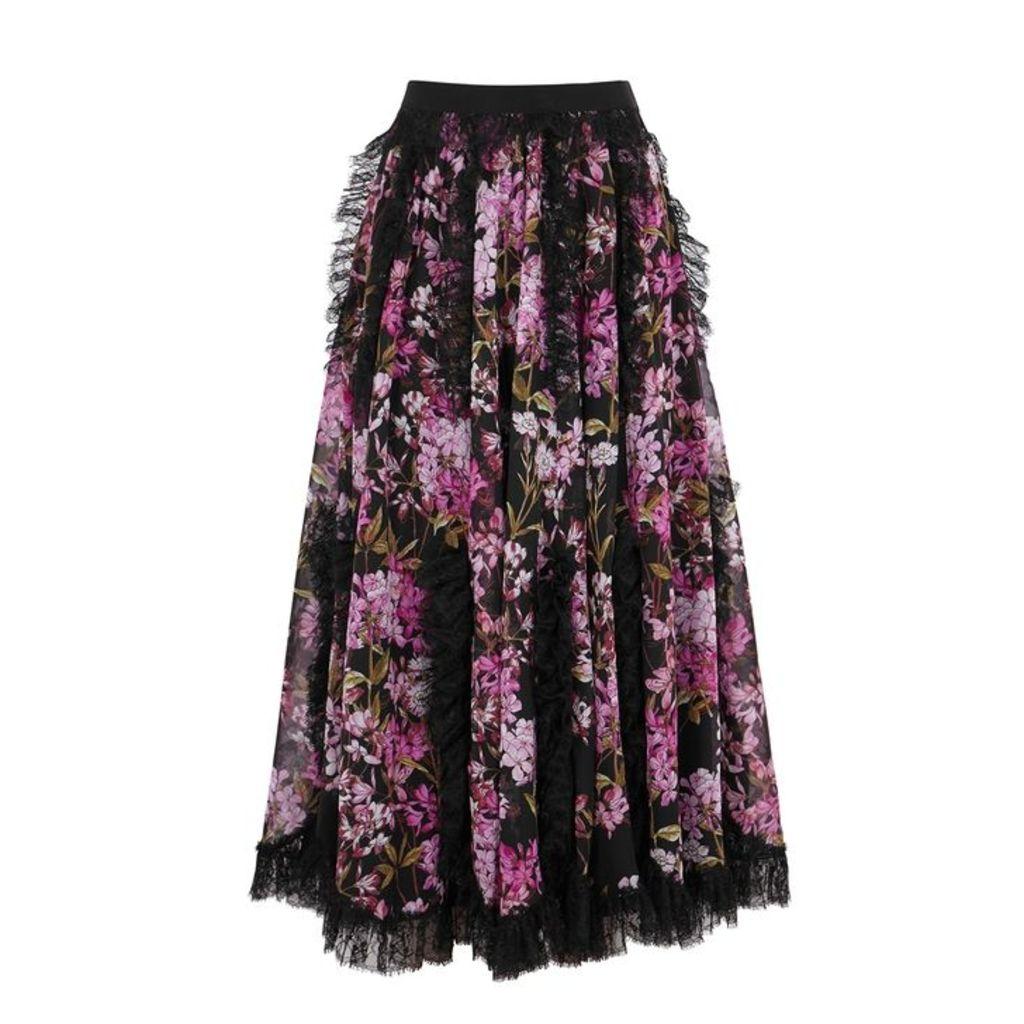 Giambattista Valli Floral-print Lace-trimmed Silk Skirt