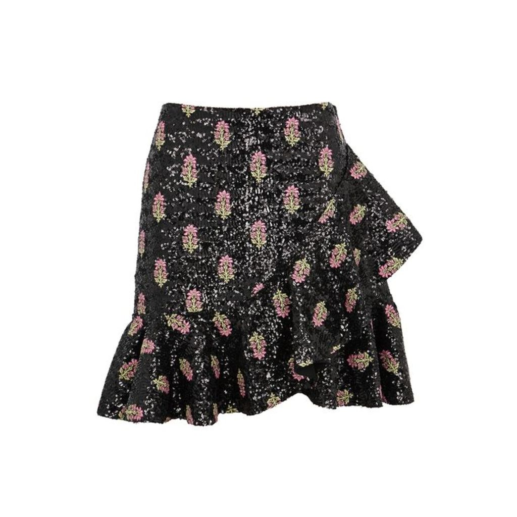 Giambattista Valli Floral-embroidered Sequinned Skirt