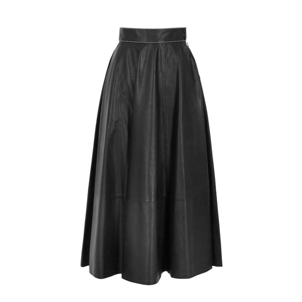 Loewe Black Leather Midi Skirt
