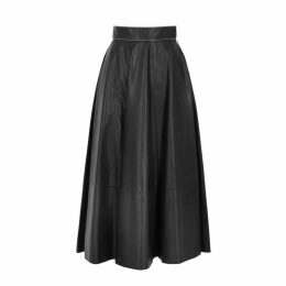 Loewe Black Leather Midi Skirt