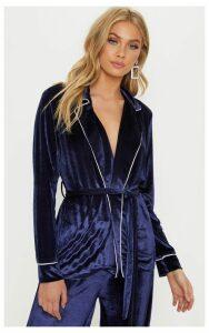 Navy Velvet Contrast Piping Tie Waist Blazer, Blue
