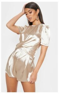 Champagne Satin Twist Detail Short Sleeve Playsuit, Yellow