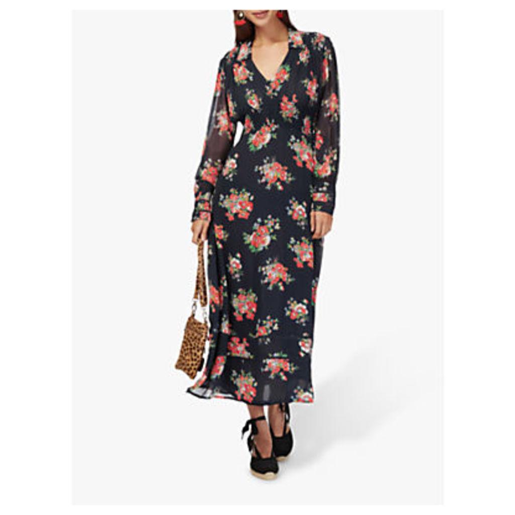 Brora Floral Silk Chiffon Smock Maxi Dress, Black/Multi