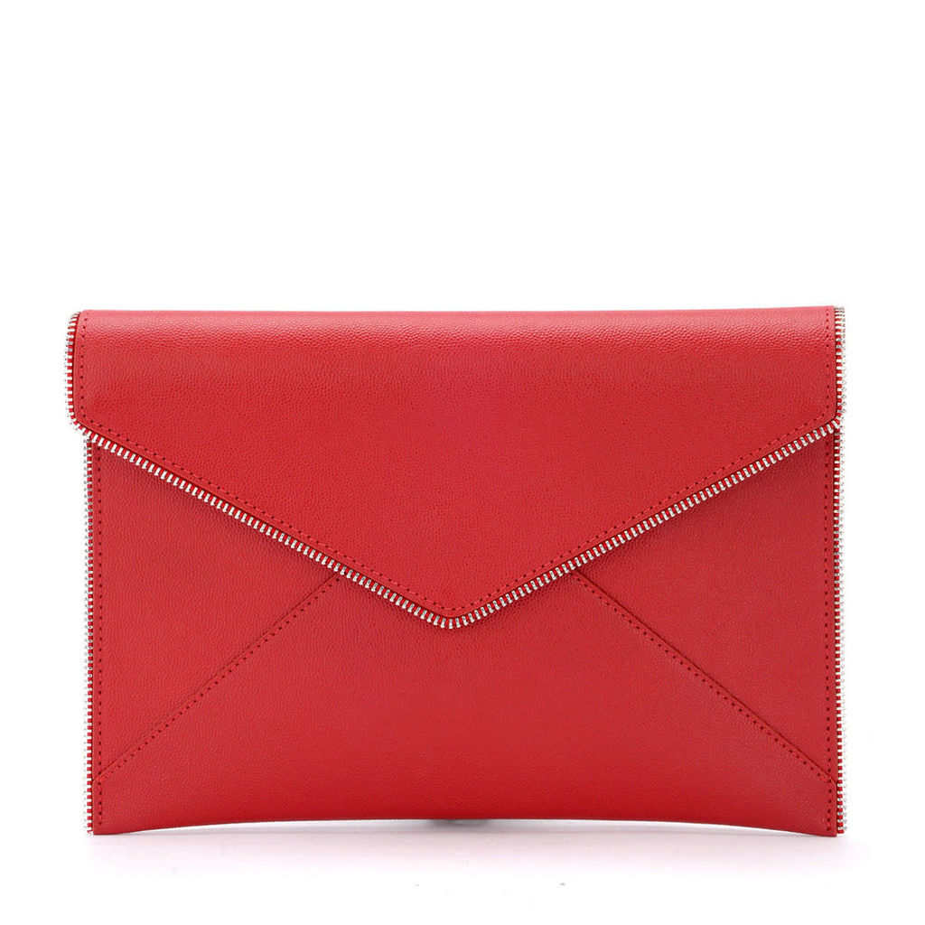 Rebecca Minkoff Leo Red Leather Envelope Clutch