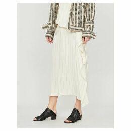 Striped crepe midi skirt