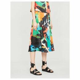 Laugh Rope high-waist printed pleated midi skirt