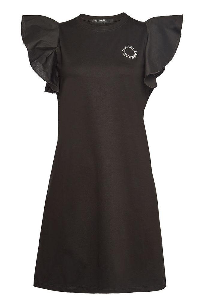 Karl Lagerfeld Stretch Cotton Ruffle Sleeve T-Shirt Dress