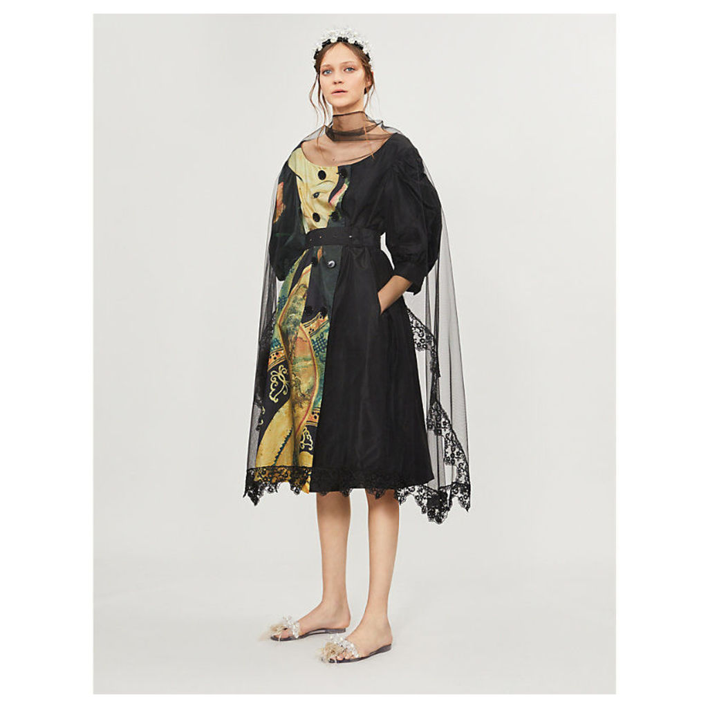 Concubine-print silk and tulle coat