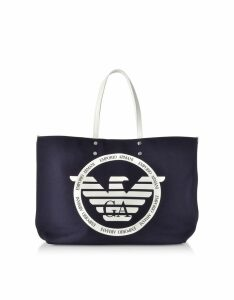 Emporio Armani Designer Handbags, Signature Canvas Medium Shopping Bag