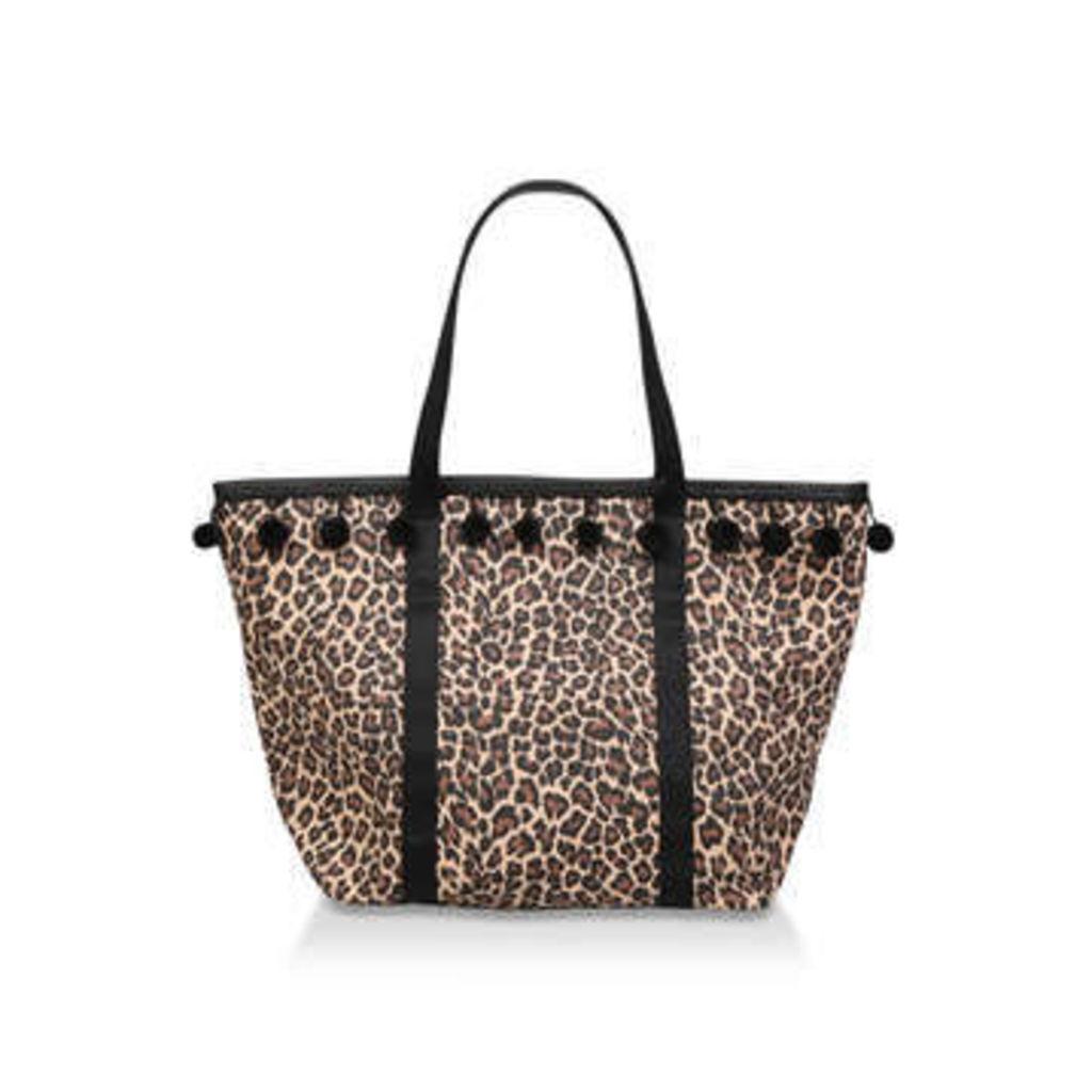 Miss Kg Harper - Leopard Print Pom Pom Tassel Beach Tote Bag