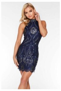 Quiz Navy Embroidered High Neck Dress