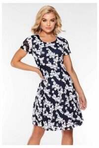 Quiz Navy And Cream Lace Butterfly Dress