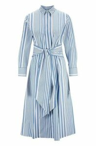 Striped shirt dress in pure cotton with tie waist