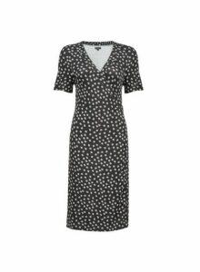 Womens Black Daisy Print Wrap Dress- Black, Black