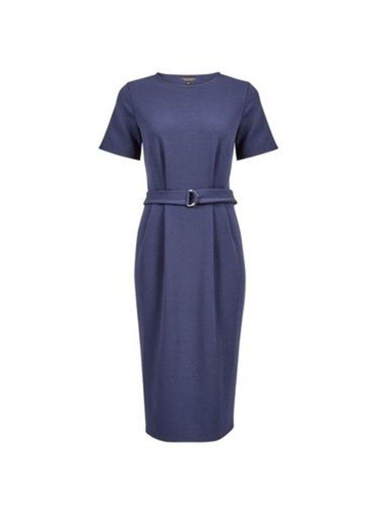 Womens Navy D-Ring Pencil Dress- Blue, Blue