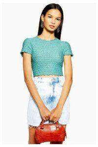 Womens Lace Shrunken T-Shirt - Mint, Mint
