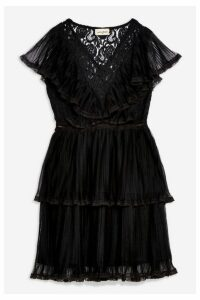 Womens **Pleated Dress By Lace & Beads - Black, Black
