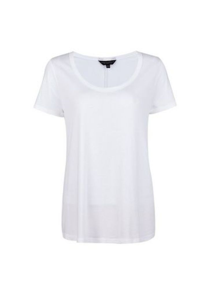 Womens White Scoop Neck T-Shirt- White, White