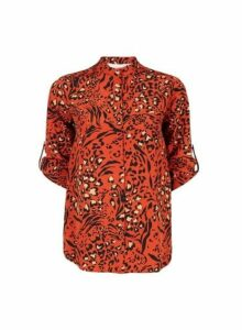 Womens Petite Orange Leopard Print Blouse- Orange, Orange