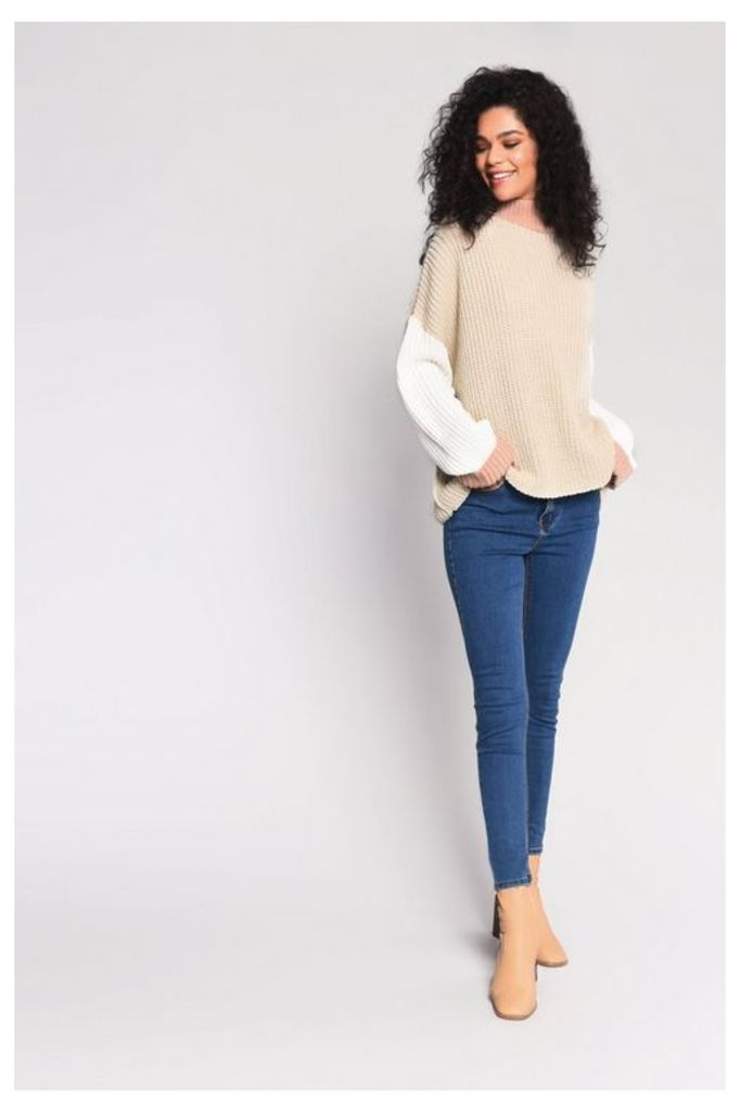 Womens **Colour Block Knitted Jumper By Glamorous - Multi, Multi
