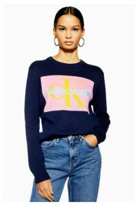 Womens Knitted Jumper By Calvin Klein - Navy Blue, Navy Blue