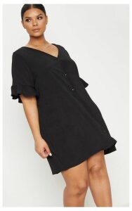 Plus Black Button Through Frill Sleeve Dress, Black