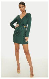 Emerald Green Satin Button Detail Shift Dress, Emerald Green
