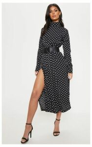 Monochrome Polka Dot High Neck Pleat Front Midi Skater Dress, Black