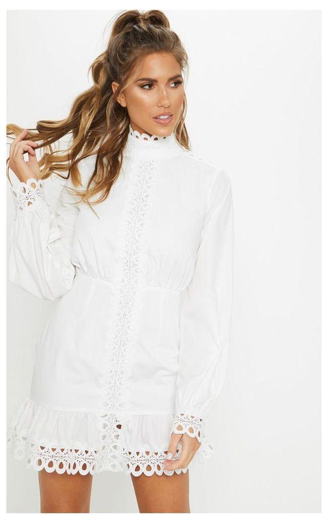 White Trim Detail High Neck Balloon Sleeve Shift Dress, White