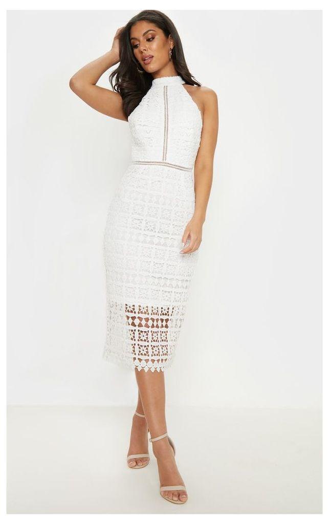 White Lace High Neck Strappy Back Midi Dress, White