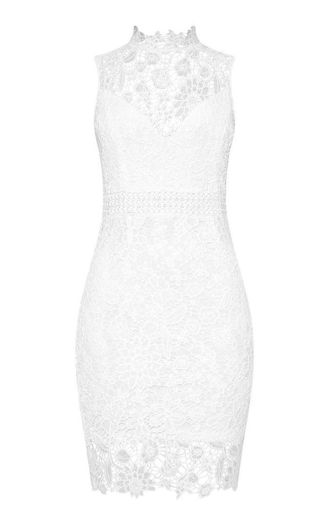 White Lace High Neck Sleeveless Bodycon Dress, White