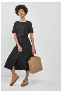 Womens Whistles Black Rib Jersy Ruffle Skirt -  Black