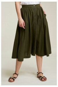 Womens FatFace Green Lena Linen Blend Skirt -  Green