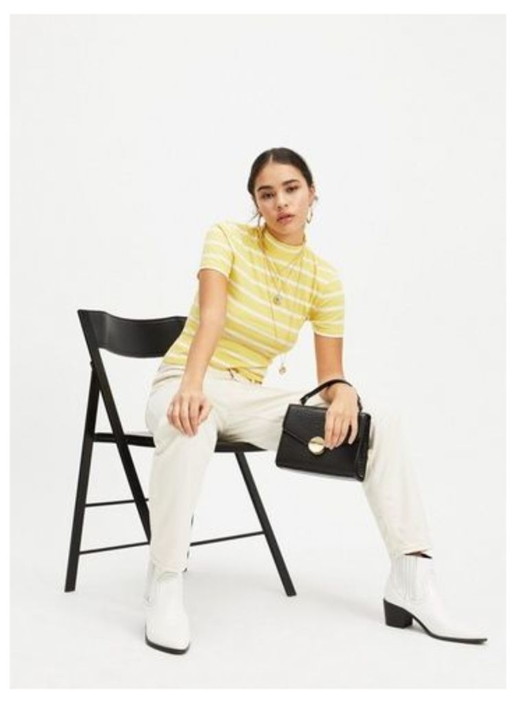 Womens Petite Yellow Striped Roll Neck Top, PALE YELLOW