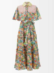 Loup Charmant - Naxo Ruffled Cotton Midi Dress - Womens - Navy