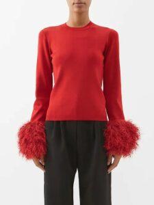 Loup Charmant - Naxo Ruffled Cotton Midi Dress - Womens - Navy