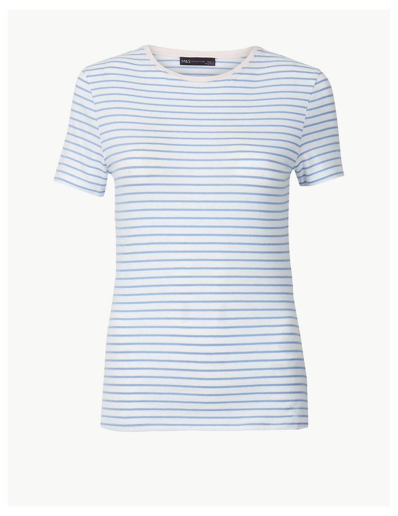 M&S Collection Striped Round Neck Fitted T-Shirt