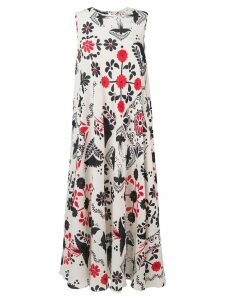 Red Valentino bird print midi dress - White