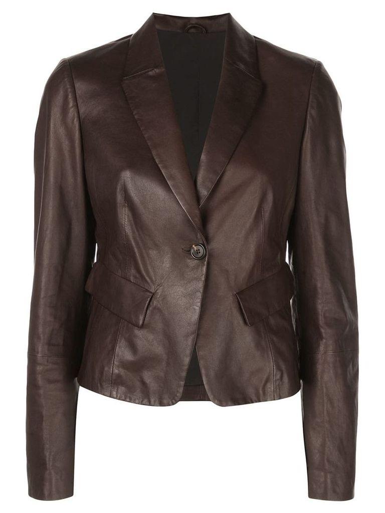Brunello Cucinelli leather blazer - Brown