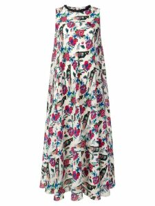 Red Valentino floral and bird print midi dress - White