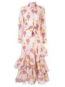 Borgo De Nor floral print ruffled shirt dress - Pink