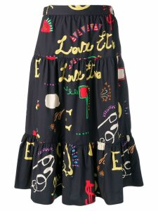 Etro graphic print tiered skirt - Blue