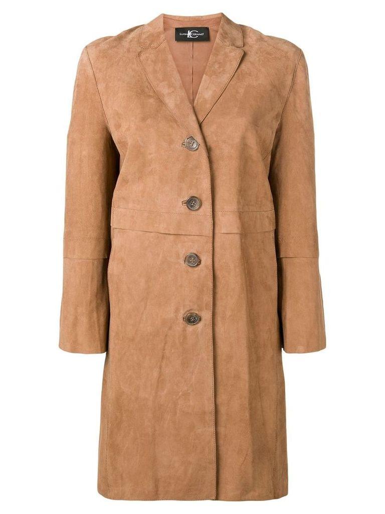 Luisa Cerano suede panels coat - Brown