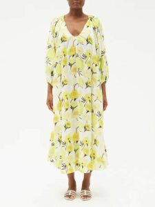 Mary Katrantzou - Egret Jacquard Striped Organza Midi Skirt - Womens - Multi