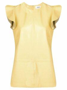 Stand ruffle-hem flared top - Yellow