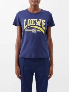 Saint Laurent - Double Breasted Cotton Velvet Blazer - Womens - Navy