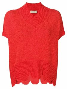 Maison Flaneur scalloped hem knit top - Red