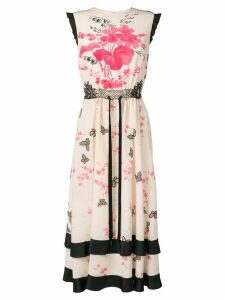 Red Valentino floral and butterfly print dress - Neutrals