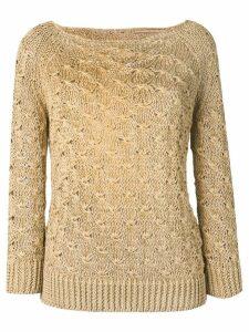 Ermanno Scervino boat neck knitted jumper - Neutrals