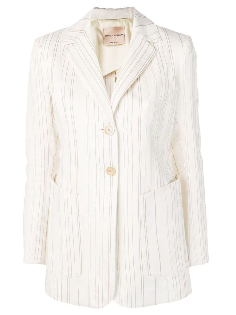 Erika Cavallini striped blazer - White